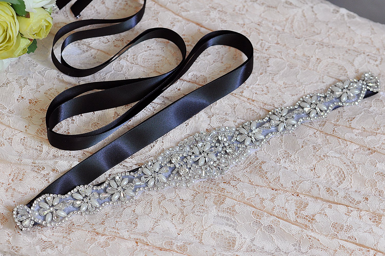 Bride Rhinestone Wedding Belt Handmade Crystal Bridal Gown (Black) by Fruit And Sun (Image #3)
