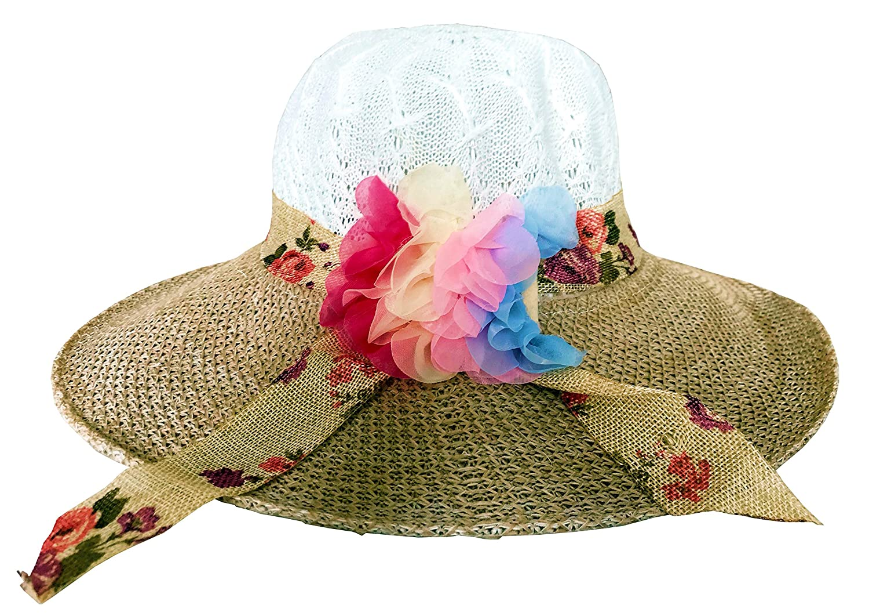 SYNC WITH STYLE Womens Ladies Floppy Foldable Summer Wedding Church Race Derby Sun Beach Straw Cap UPF 50 Foldable Wide Brim Formal Casual Adjustable Floral Hat