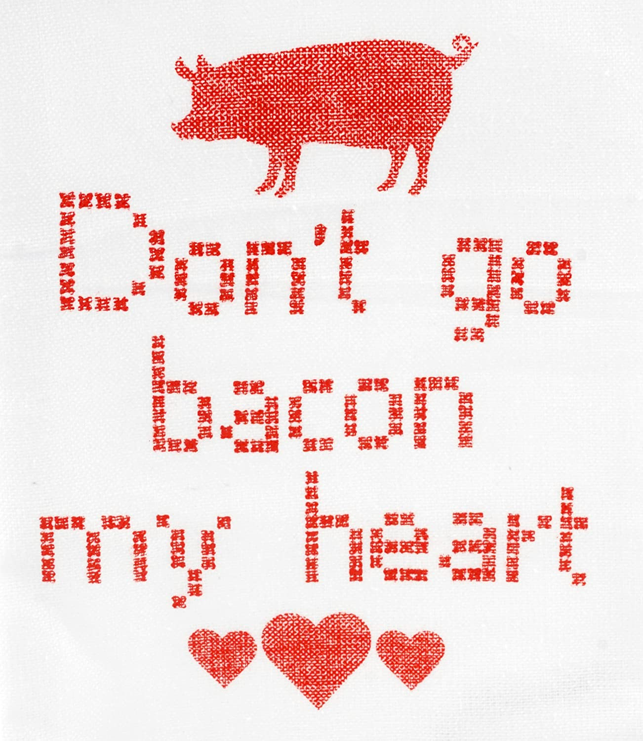 Black Party Explosions/® Dont Go Bacon My Heart Cross Stitch Style Tea Towel