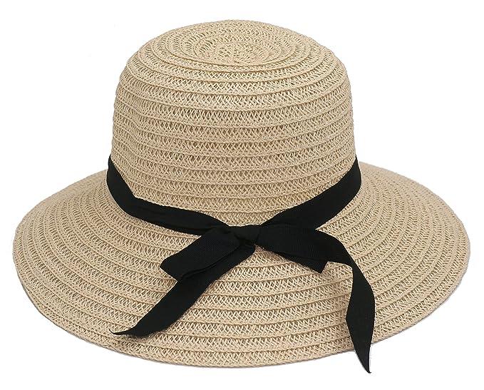 49364333 Roffatide Women's Straw Woven Foldable Summer Beach Sun Hat Bucket Cap with Bow  Beige