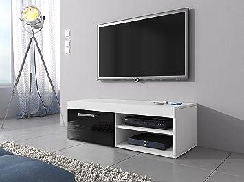 Tv schrank weiß hochglanz 120  TV-Element TV Schrank Ständer Mambo weiß matt/schwarz Hochglanz 120 ...