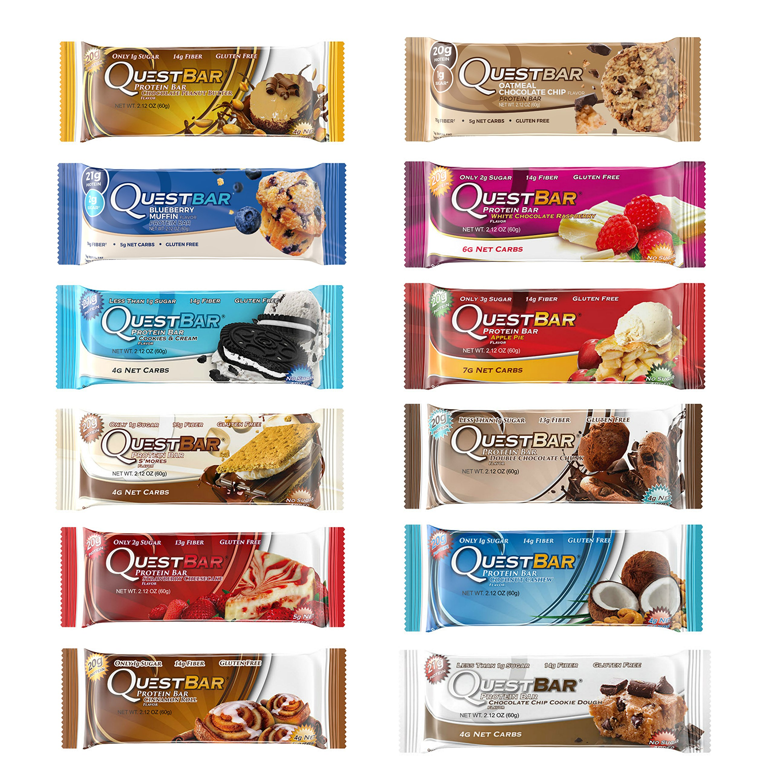 Quest Nutrition Protein Bar Adventure Variety Pack. Low Carb Meal Replacement Bar w/20g+ Protein. High Fiber, Soy-Free, Gluten-Free (12 Count)