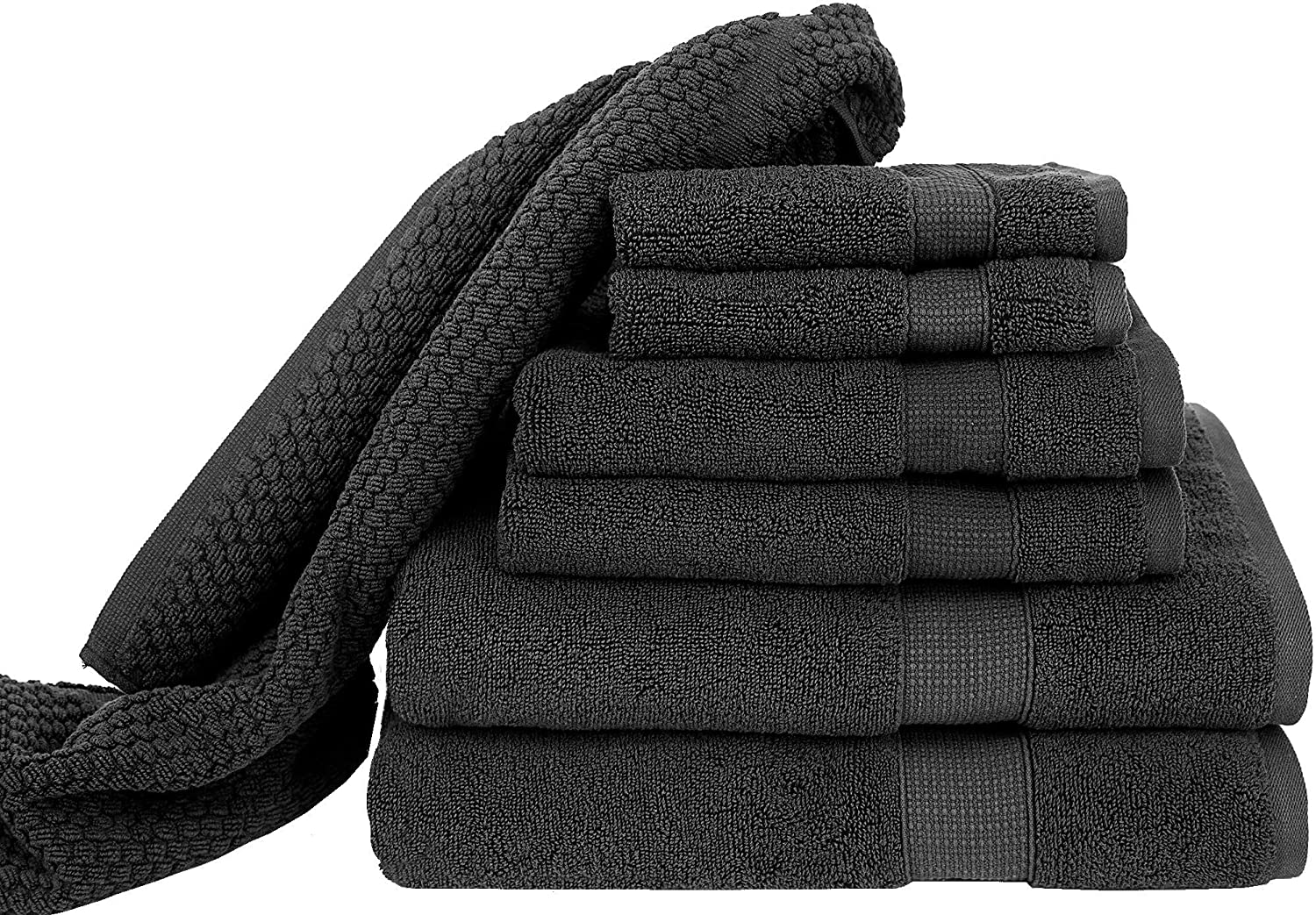 Blake Deluxe 7 Piece Bath Towel and Bath Mat Set - Densely Woven Premium Ultra Soft, High Absorbency Combed Cotton - Luxury Spa Bath Towels - 700 GSM (Dark Grey)
