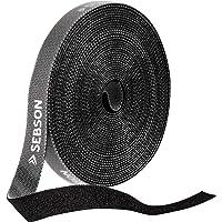 SEBSON Klittenband Kabelbinder Herbruikbaar Zwart, 12mm x 10m Klittenband Rol Afsnijdbaar, Variabel Afsluitbaar
