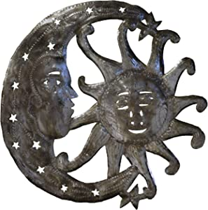 Le Primitif Galleries Haitian Recycled Steel Oil Drum Outdoor Decor, 14 by 14-Inch, Sun and Moon