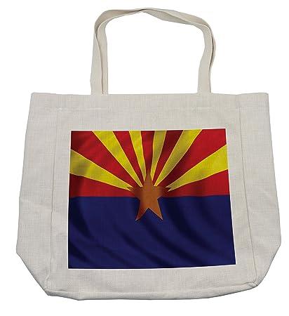 f4a1df0278b5 Amazon.com - Lunarable American Shopping Bag, Arizona Flag 13 Rays ...