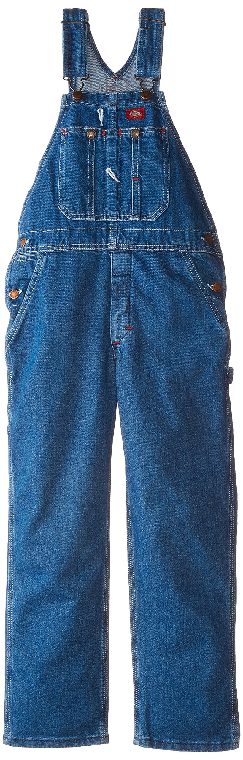 Dickies Big Boys' Denim Bib Overall, Stone Washed Indigo Blue, Large (14/16)