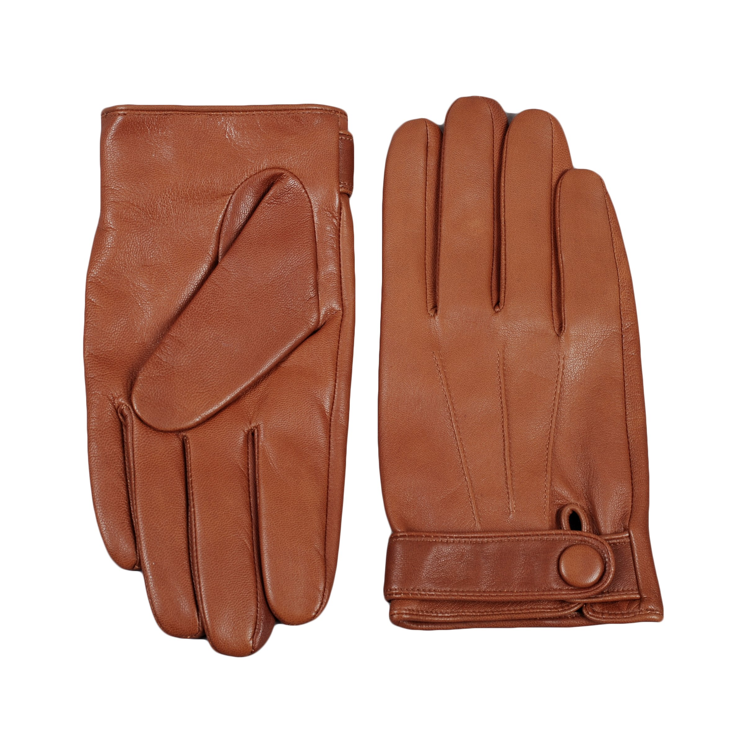 Men's Warm Gloves, Magelier Winter Sheepskin Leather Daily Dress Driving Gloves, Large, Brown by Magelier (Image #2)