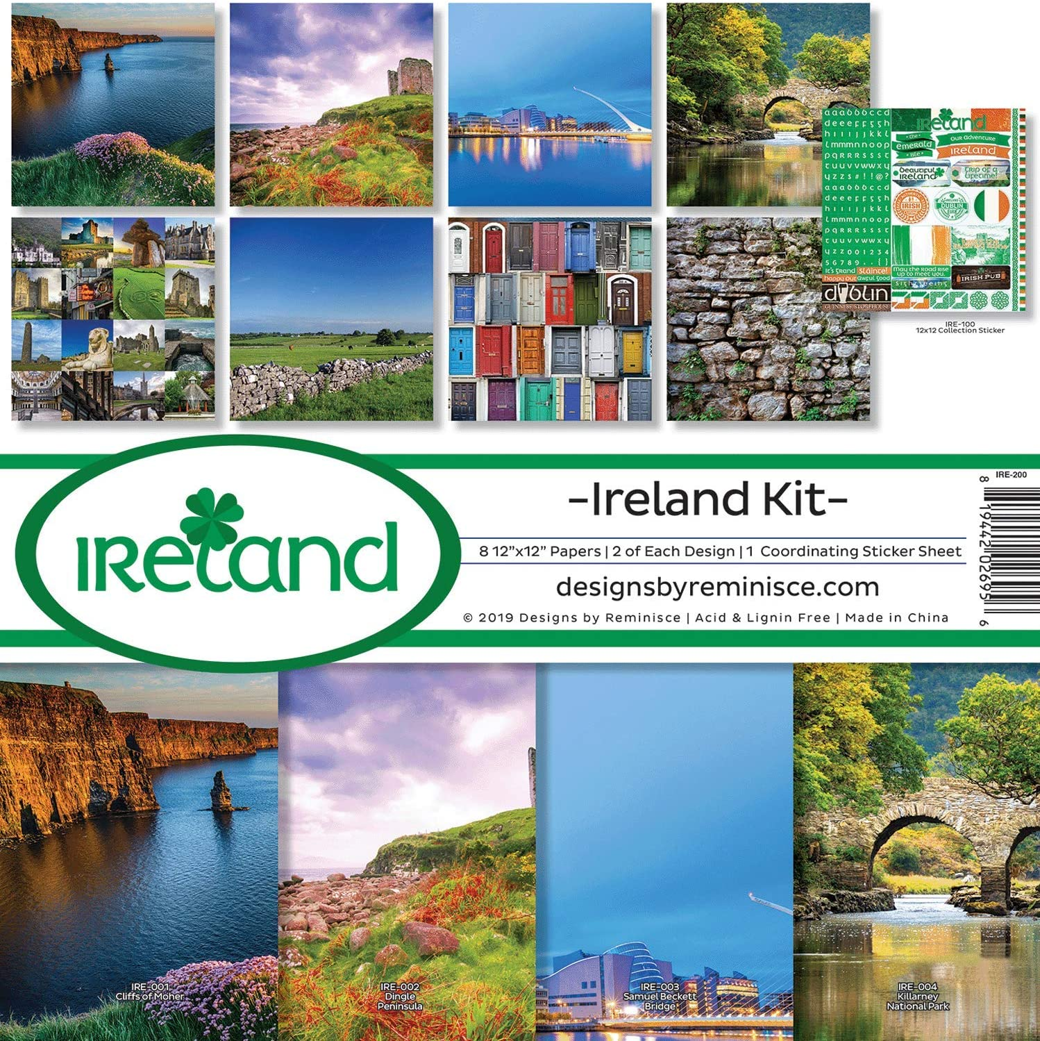Multi Color Palette Reminisce IRE-200 Ireland Scrapbook Collection Kit