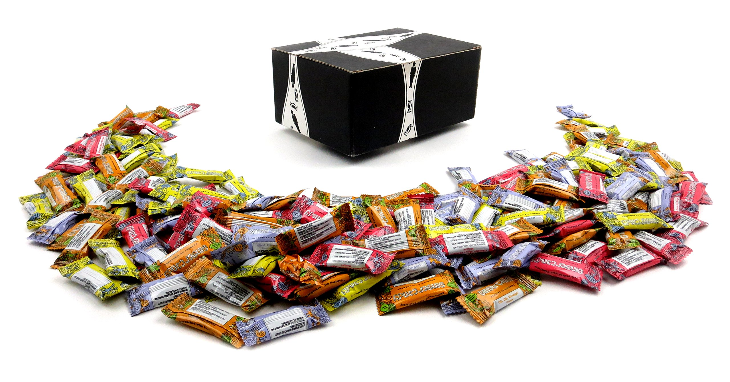 Gem Gem Ginger Candy 4-Flavor Variety: One 2 lb Assorted Bag of Original, Mango, Orange, and Lemon in a BlackTie Box