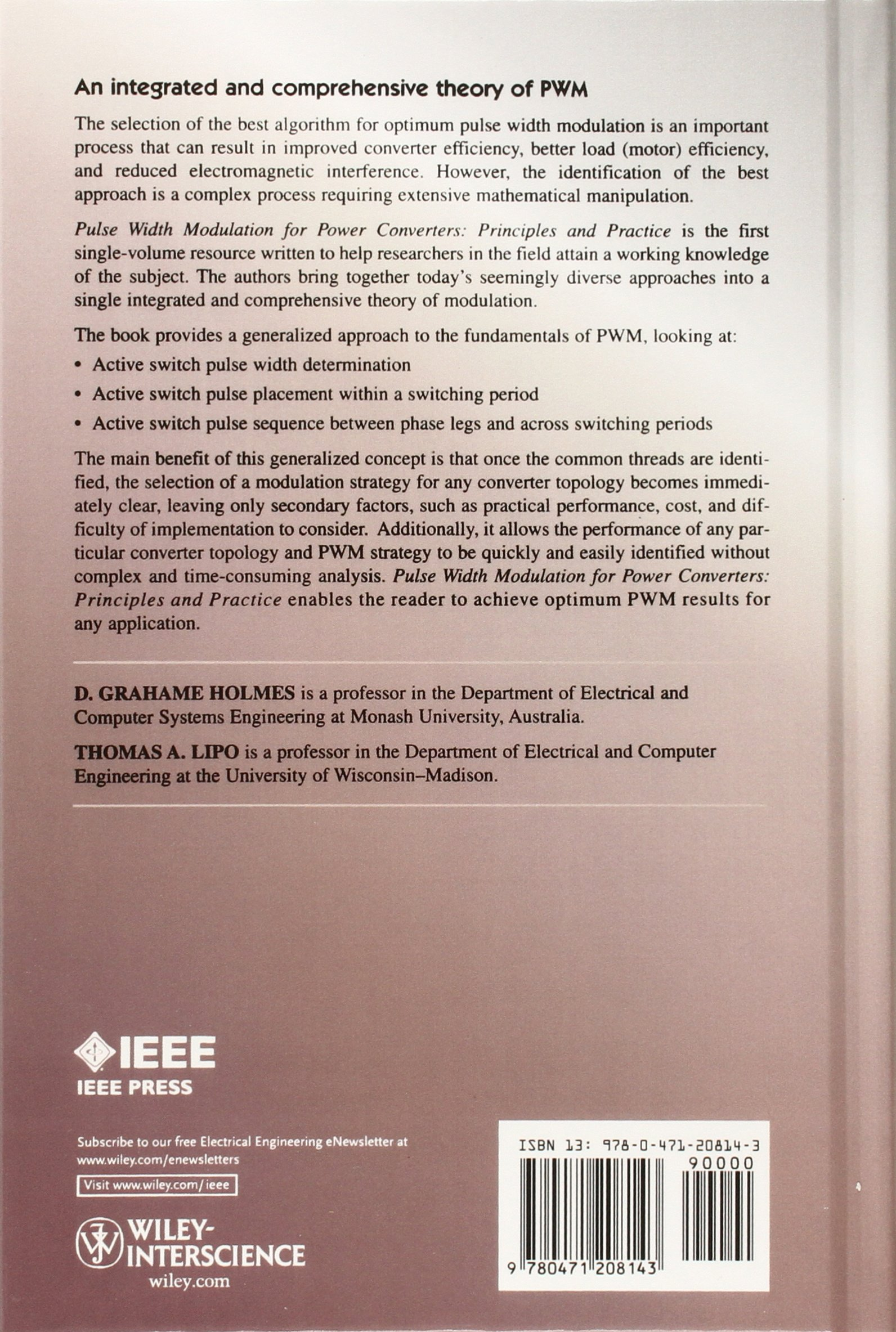 Pulse Width Modulation For Power Converters Principles And Practice 8211 What Is It Ieee Series On Engineering D Grahame Holmes Thomas A Lipo
