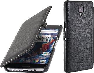 StilGut BookType con Clip, custodia a libro in vera pelle per One Plus 3 e OnePlus 3T, nero