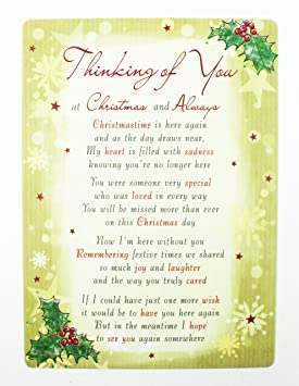 Thinking Of You At Christmas Grave Card Graveside Memorial Poem