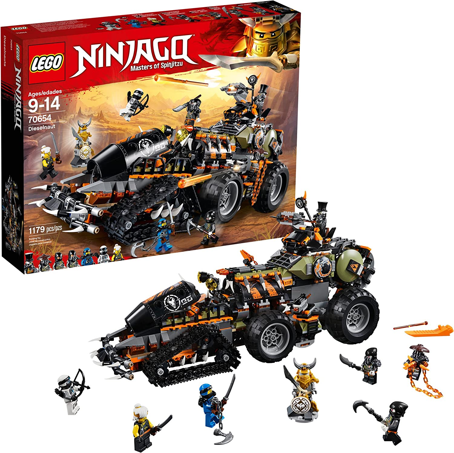 LEGO NINJAGO Masters of Spinjitzu: Dieselnaut 70654 Ninja Warrior Toy and Playset, Fun Building Kit with Brick Battle Tank Vehicle (1179 Pieces)