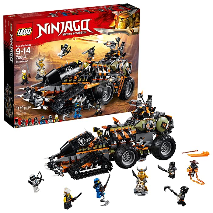 LEGO NINJAGO Masters of Spinjitzu: Dieselnaut 70654 Ninja Warrior Toy and Playset, Fun Building Kit with Brick Battle Tank Vehicle (1179 Pieces)