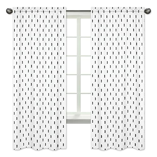 Black and White Triangle Tree Window Treatment Panels Curtain