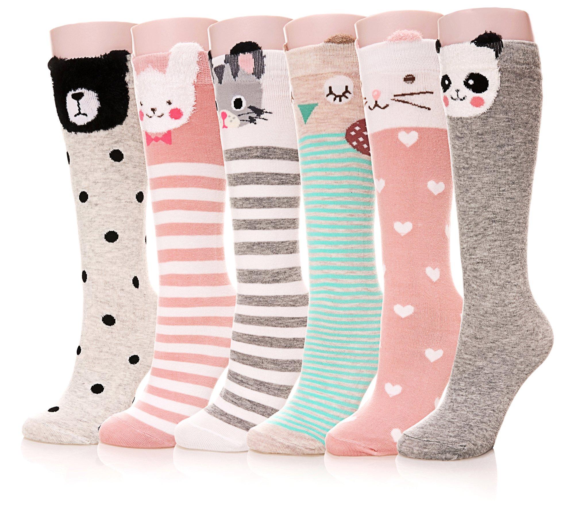 Color City Kids Girls Socks Knee High Stockings Cartoon Animal Theme Cotton Socks (6 Pairs) by Color City (Image #1)