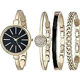 Anne Klein Women's Gold-Tone Bangle Watch and Swarovski Crystal Bracelet Set, AK/1470
