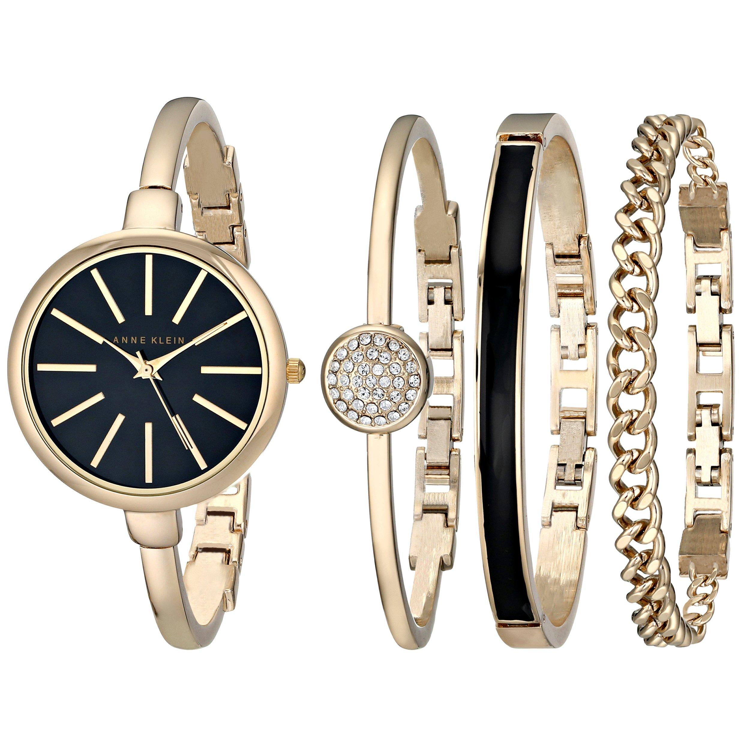 Anne Klein Women's AK/1470GBST Gold-Tone Watch and Bracelet Set by Anne Klein