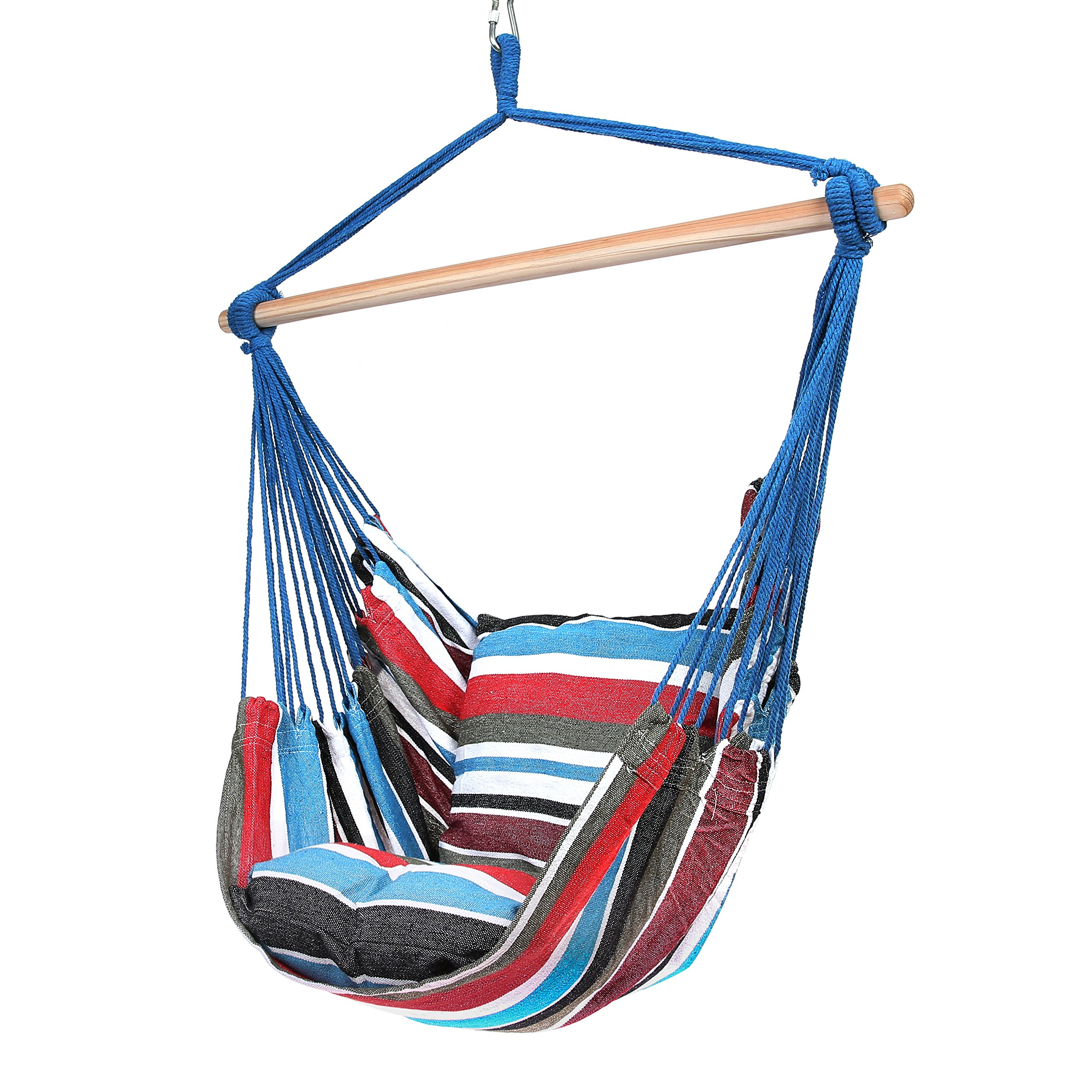 Blissun Hanging Hammock Chair, Hanging Swing Chair with Two Cushions, 34 Inch Wide Seat (Cool Breeze) by Blissun (Image #2)
