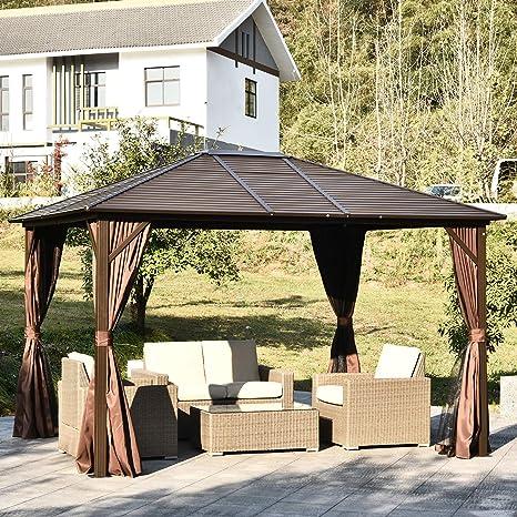 Outsunny – 12 x 10 Acero Alfombrilla al Aire Libre Gazebo con Cortinas, Color marrón/Negro: Amazon.es: Jardín