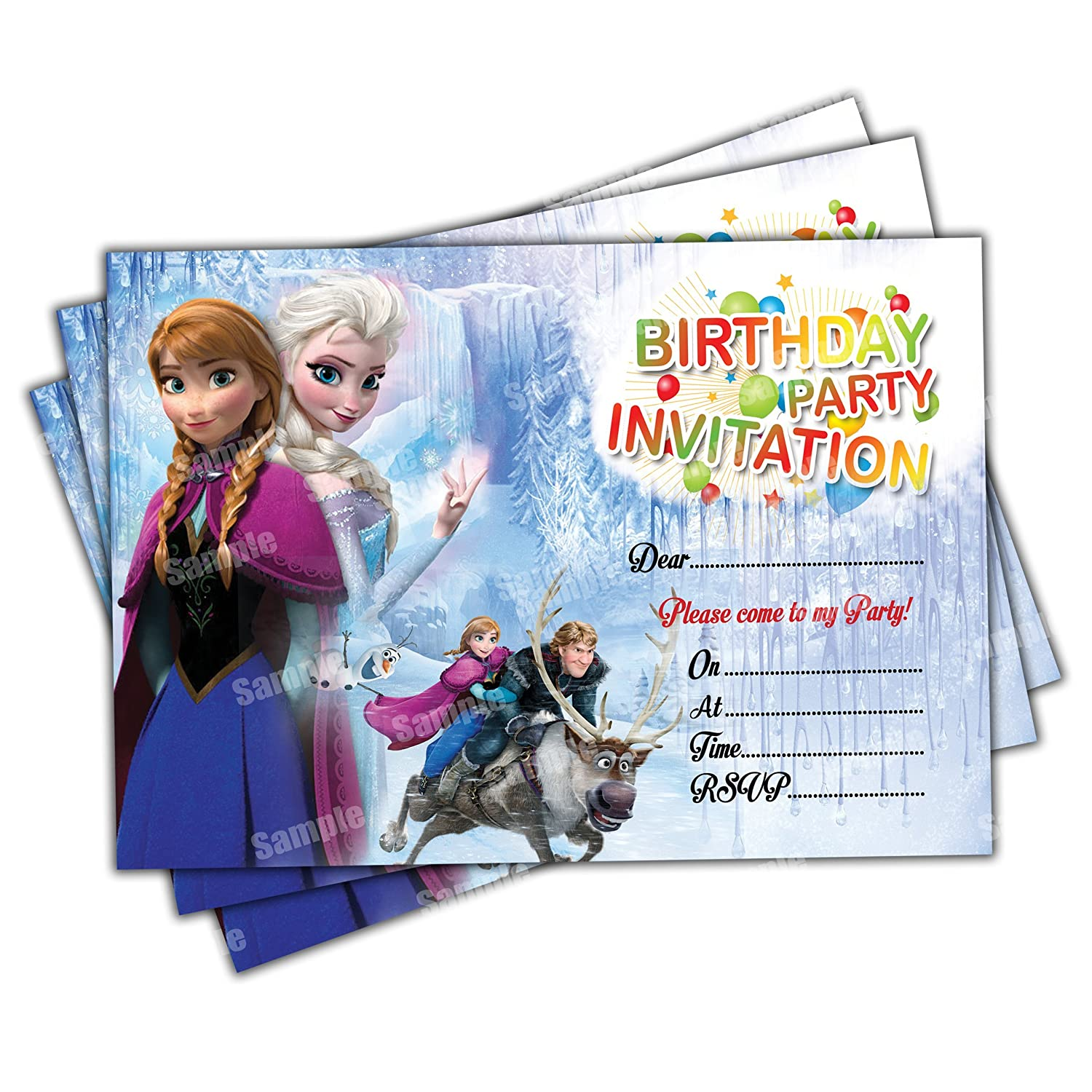 20 x Frozen Kids Birthday Party Invitations Invites Cards Quality Girls Boys Birthday Invitations