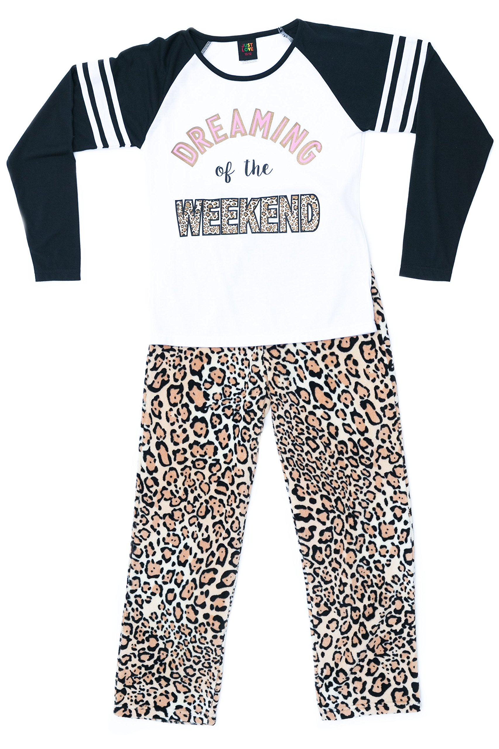 44642-10114-7/8 Just Love Two Piece Girls Pajamas Set, 7-8, Weekend Leopard