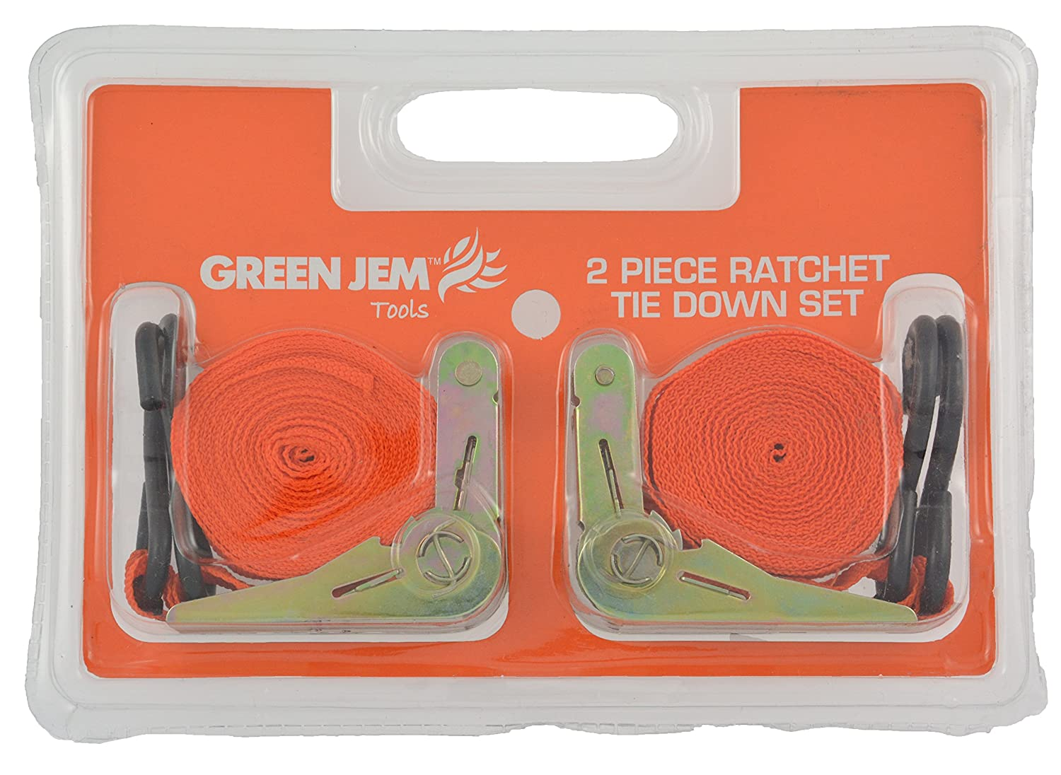 Orange Green Jem HTRTD15X2 Ratchet Tie Down Set