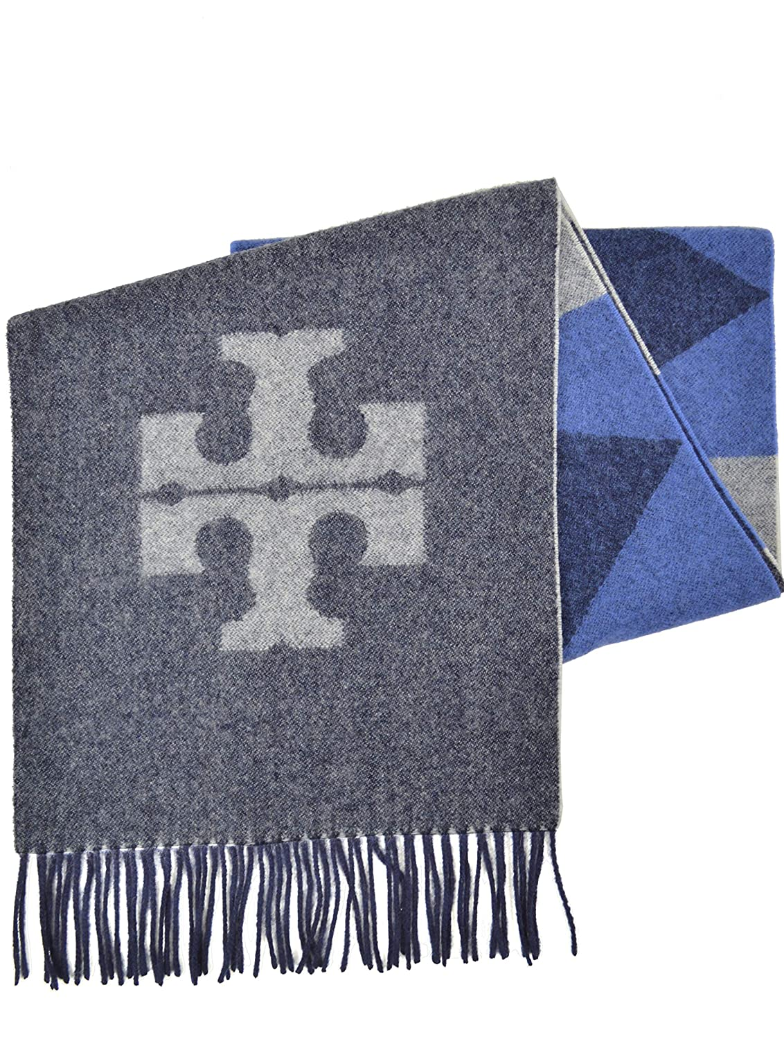 Tory Burch Women's Carnavalet Oblong T Logo Rectangle Scarf Navy bluee