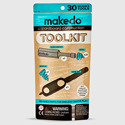 Makedo Cardboard Construction Toolkit, Includes 30 Kid-Friendly Reusable  Tools, Perfect for Classroom STEM, STEAM Learning and at-Home Play for Kids