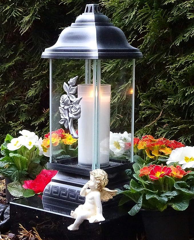 Grablaterne Grablampe Grableuchte Grabschmuck Lebensbaum modern inkl Grablicht