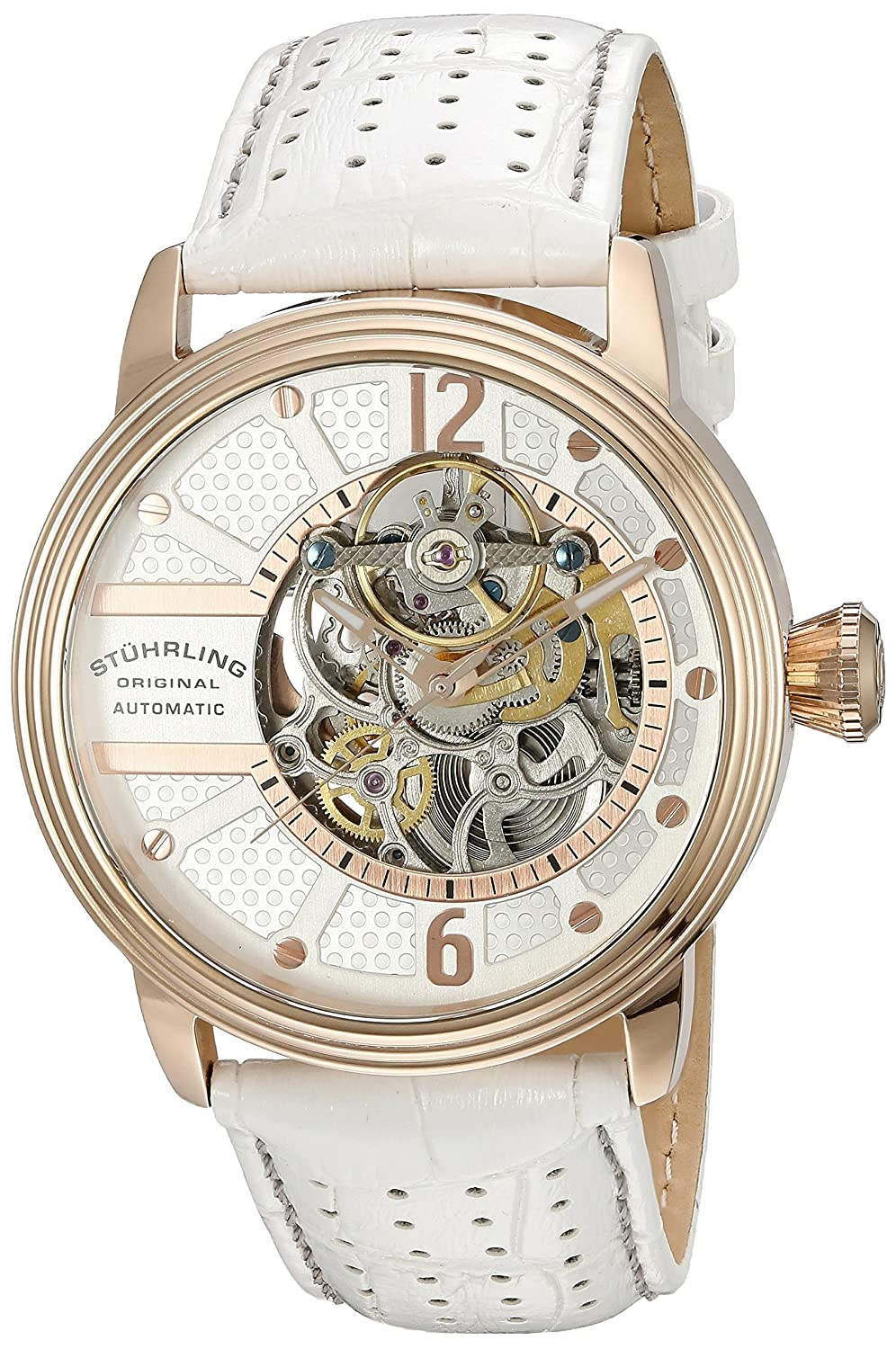 e4eb99b11 Amazon.com: Stuhrling Original Men's 'Legacy' Automatic Stainless Steel and  White Leather Casual Watch (Model: 308A.3345P34): Watches