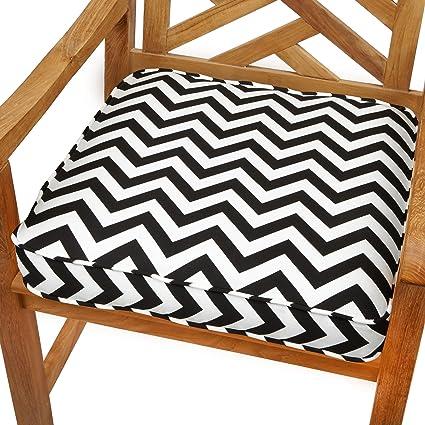 Bon Chevron 19 Inch Indoor/Outdoor Corded Chair Cushion Grey