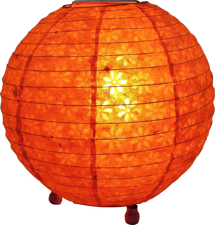 Guru Shop Corona Round Reispapier Stehlampe 40 Cm Gelb Lokta