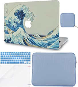 """LuvCase 5in1 LaptopCase for MacBook Pro 13""""(2020) with Touch Bar A2251/A2289 HardShellCover, Slim Sleeve, Pouch, Keyboard Cover & Screen Protector (Japanese Wave)"""