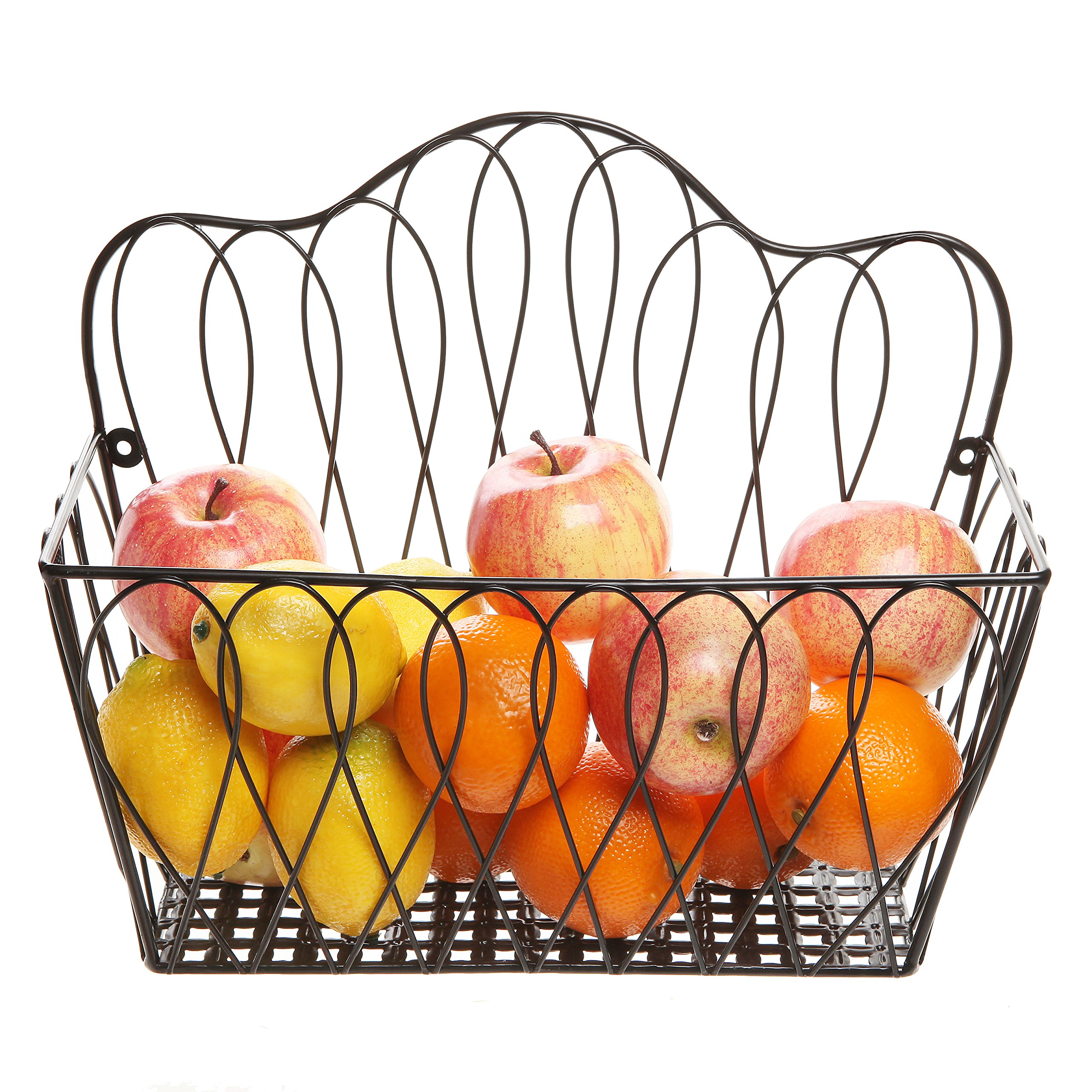 MyGift Decorative Black Metal Wire Loop Design Wall Mounted Magazine Holder Bin/Fruit Basket Rack