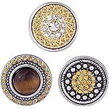 Morella® Damen Click-Button Set 3 Stück Druckknöpfe Gelb-Gold mit Perle