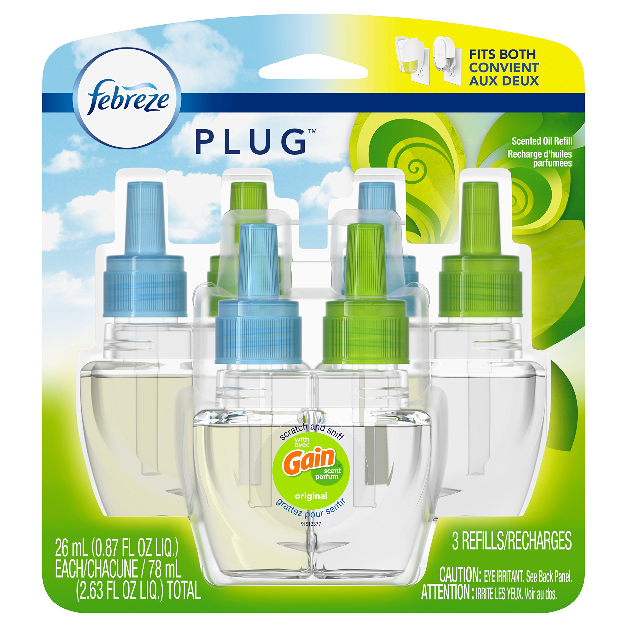 Febreze Plug Air Freshener Scented Oil Refill, Gain Original Scent, 3 Count