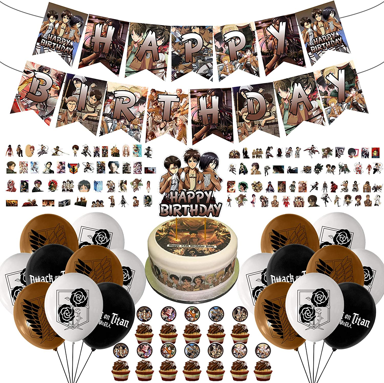 138 Pcs Attack on Titan Party Decoration, Happy Birthday Banner Cupcake Toppers Balloons Anime Stickers Theme Birthday Supplies Kids Birthday Decor