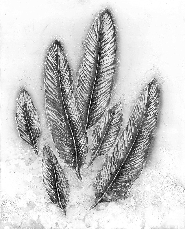 KADIMA DESIGN Aluminium Bild Feather 100cm x 80cm Columbia Silber