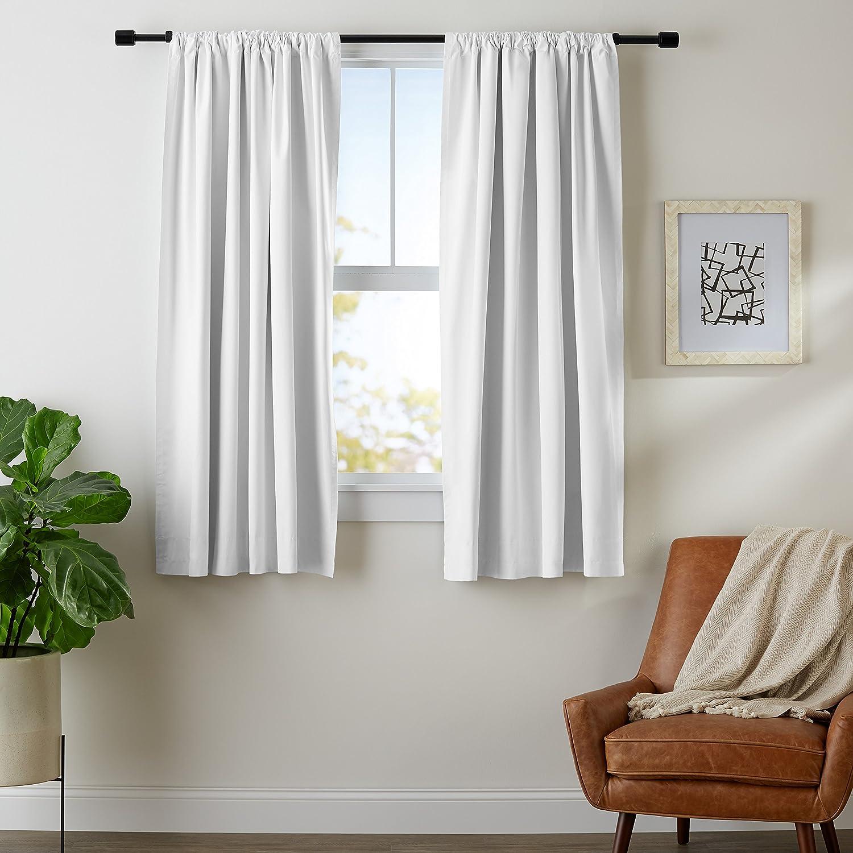 AmazonBasics Room-Darkening Blackout Curtain Set - 42 x 63, Beige AmazoBasics TEX-1828