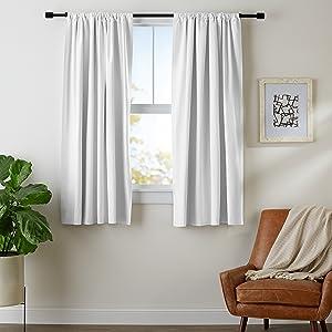 "AmazonBasics Room Darkening Blackout Curtain Set with Tie Backs - 52"" x 63"", White"