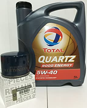 DUO Total Quartz 9000 Energy 5W-40 5 lts + Filtro Aceite orginal (82 00 768 927): Amazon.es: Coche y moto