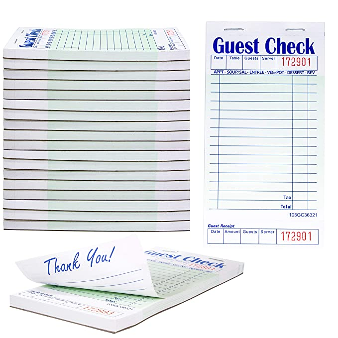 10 Pack White Server Lightweight Compact Pad Paper 1 Part Booked with 8 Lines