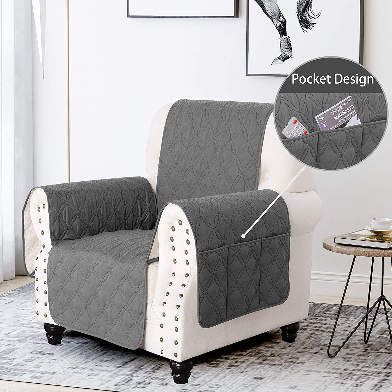 SOFTOWN Non-Slip Chair Sofa Slipcover 100% Waterproof Sofa Cover Furniture Protector Couch Covers with for Dog, Pets: Kitchen & Dining