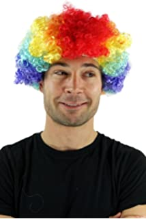 f976fe2b766 Party Fancy Dress Halloween WIG AFRO style CLOWN very curly COLOURFUL  volume PW0179