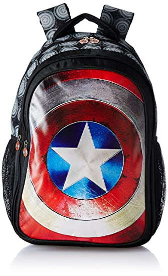 Captain America Nylon 48 cms Black Children s Backpack (Age group  8 yrs  +)  Amazon.in  Bags bae2f9c9e0a35