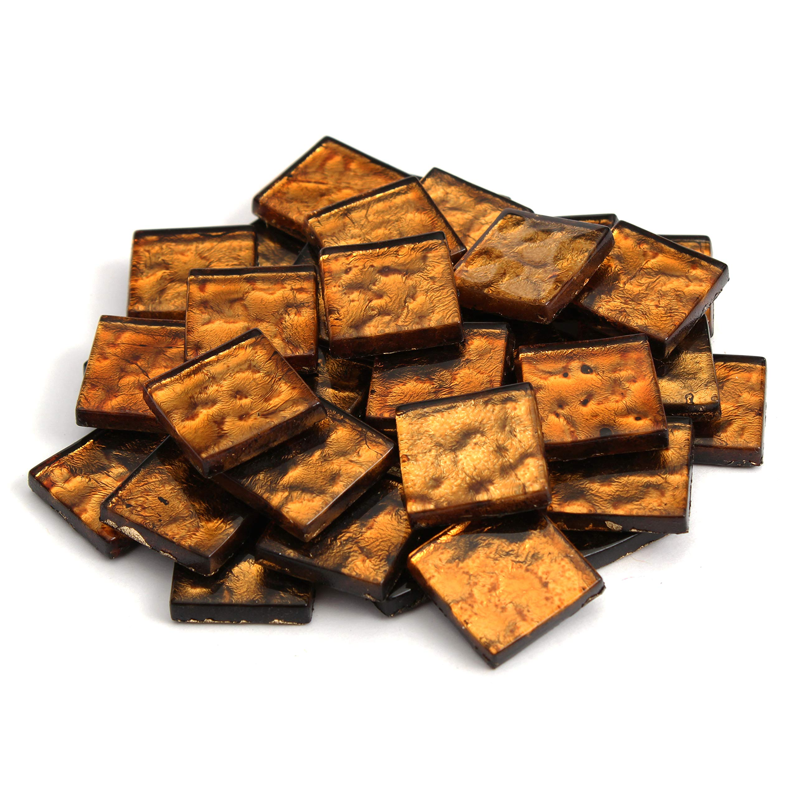 Milltown MerchantsTM 3/4 Inch (20mm) Amber Crystal Mosaic Tile - Bulk Patterned Glass Mosaic Tiles - 3 Pound (48 oz) Bronze Tile Assortment for Backsplash, Murals, Stepping Stones, and Mosaics by Milltown Merchants