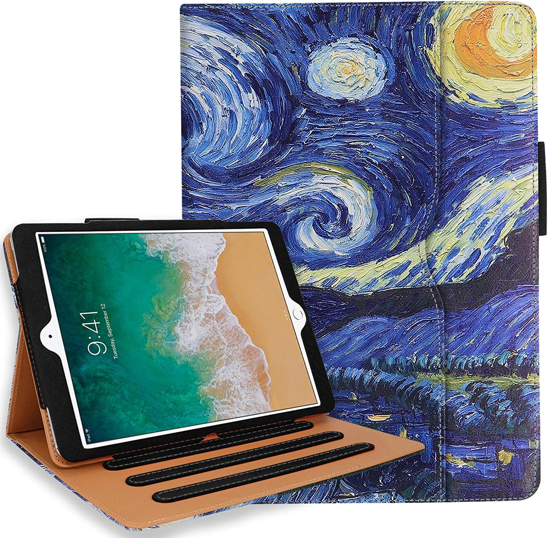 iPad 10.2 Case, iPad 7th Generation Case with Pencil Holder - Multi-Angle Stand, Hand Strap, Auto Sleep/Wake for iPad 7th Gen, iPad 10.2 2019(Starry Night)