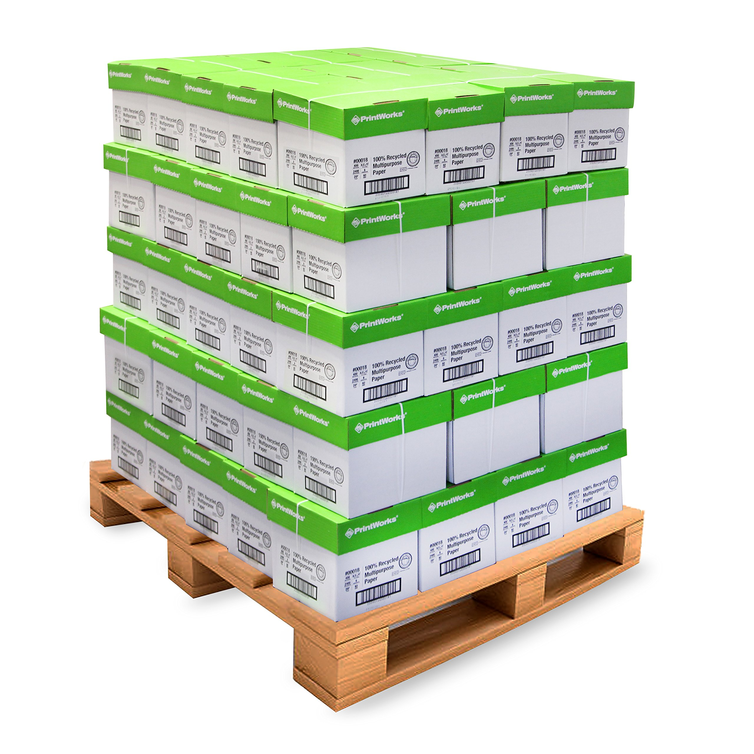 Printworks 100 Percent Recycled Multipurpose Paper -Pallet Pricing, 20 Pounds, 92 Bright, 8.5 x 11, 2400 Sheets/Carton, 80 Cartons/Pallet, 192,000 sheets (00018PAL)